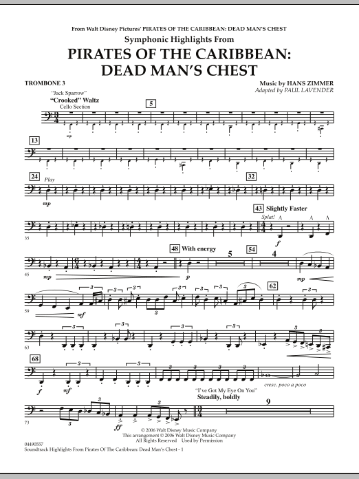Paul Lavender Soundtrack Highlights from Pirates Of The Caribbean: Dead Man's Chest - Trombone 3 sheet music notes and chords. Download Printable PDF.