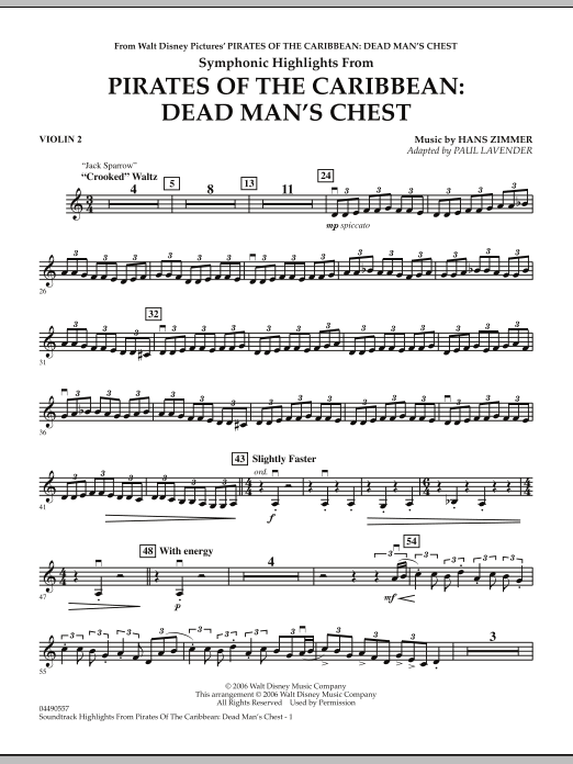 Paul Lavender Soundtrack Highlights from Pirates Of The Caribbean: Dead Man's Chest - Violin 2 sheet music notes and chords. Download Printable PDF.