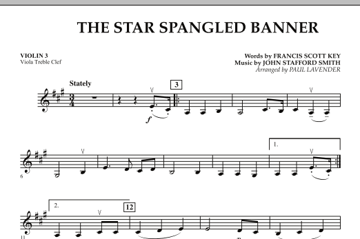 Paul Lavender Star Spangled Banner Violin 3 Viola Treble Clef Sheet Music Pdf Notes Chords Patriotic Score Orchestra Download Printable Sku 272434