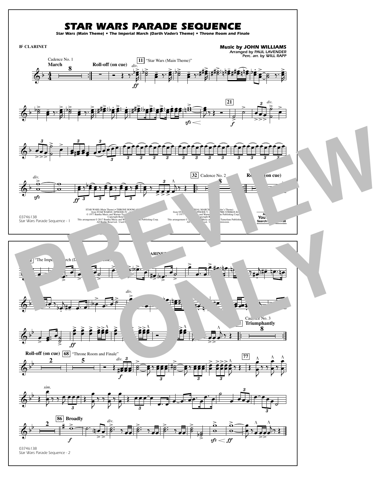 Paul Lavender Star Wars Parade Sequence - Bb Clarinet sheet music notes and chords