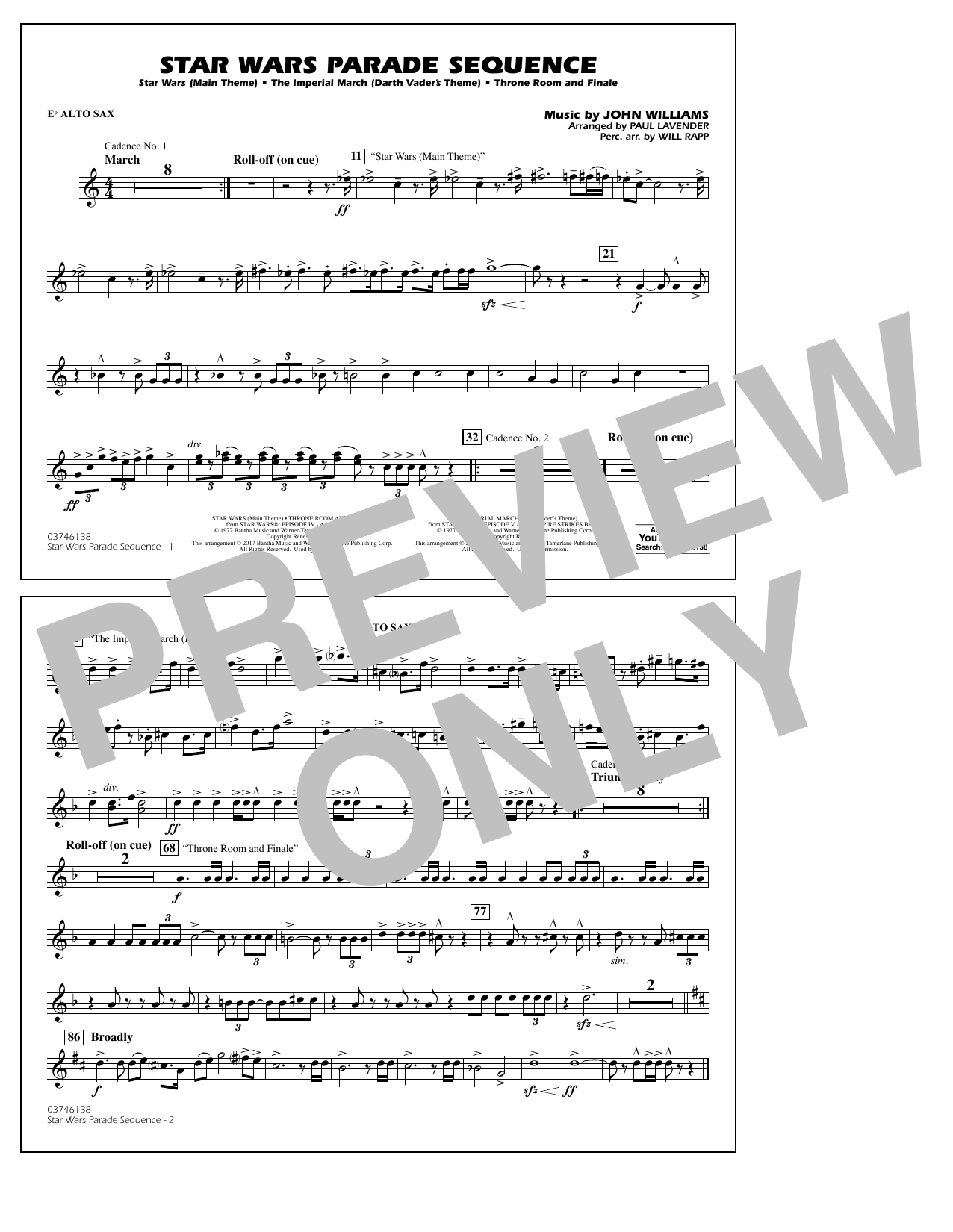 Paul Lavender Star Wars Parade Sequence Eb Alto Sax Sheet Music Notes Chords Download Printable Marching Band Sku 364743