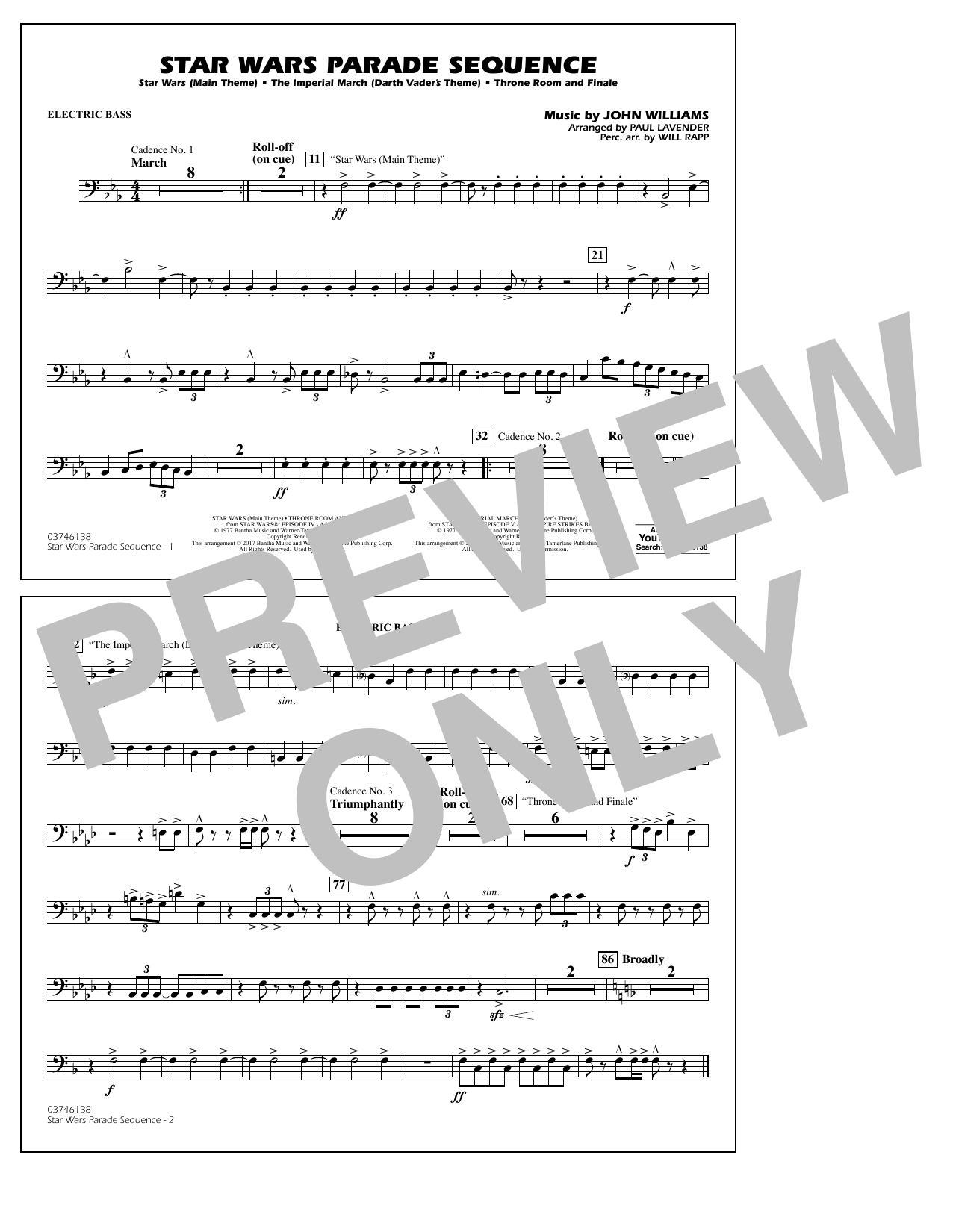Paul Lavender Star Wars Parade Sequence - Electric Bass sheet music notes and chords