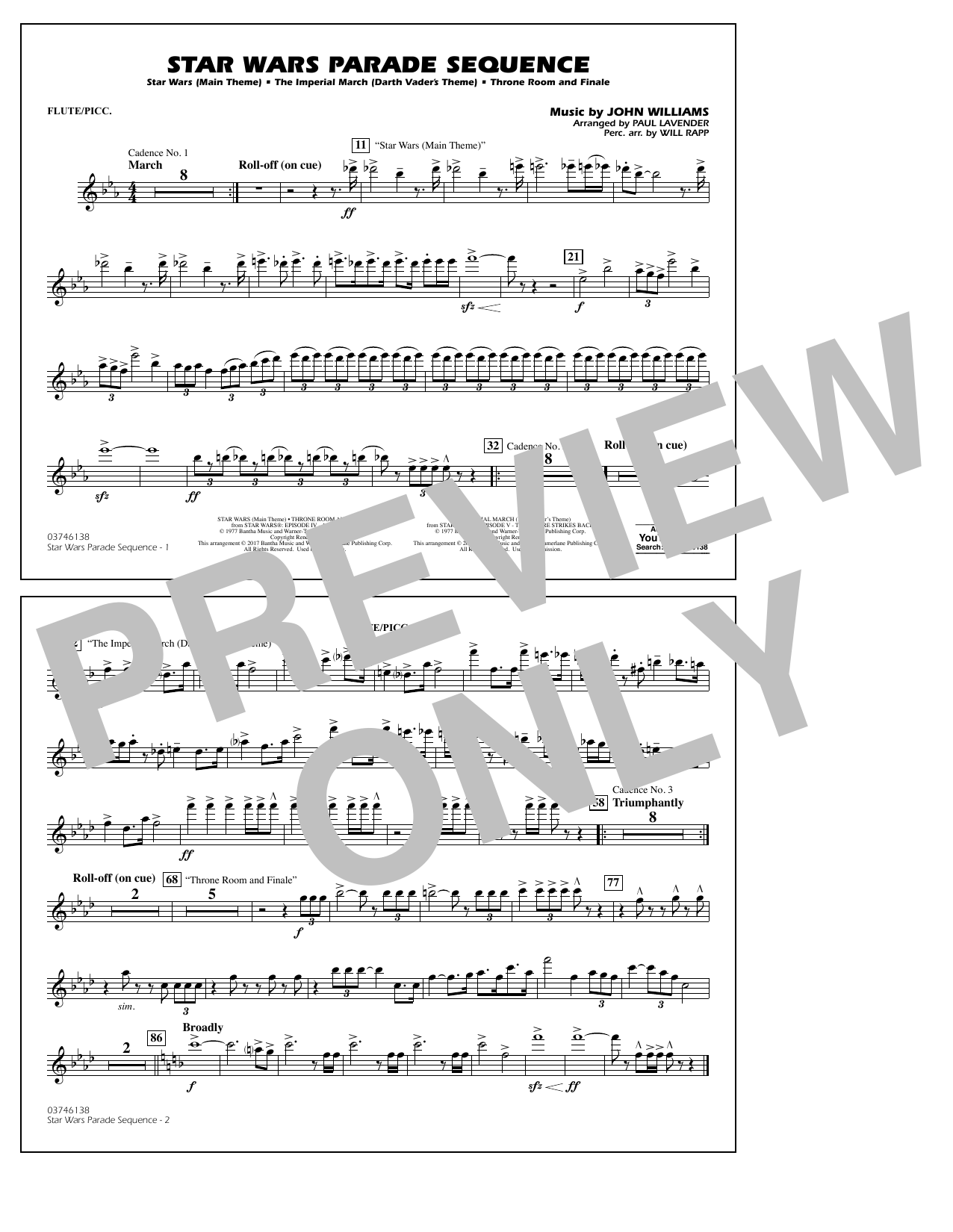 Paul Lavender Star Wars Parade Sequence - Flute/Piccolo sheet music notes and chords