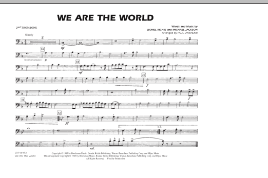 Paul Lavender 'We Are The World - Trombone 2' Sheet Music Notes, Chords |  Download Printable Marching Band - SKU: 287035