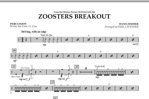 Paul Lavender Zoosters Breakout (from Madagascar) - Percussion sheet music notes and chords. Download Printable PDF.