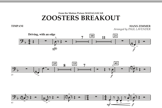Paul Lavender Zoosters Breakout (from Madagascar) - Timpani sheet music notes and chords. Download Printable PDF.