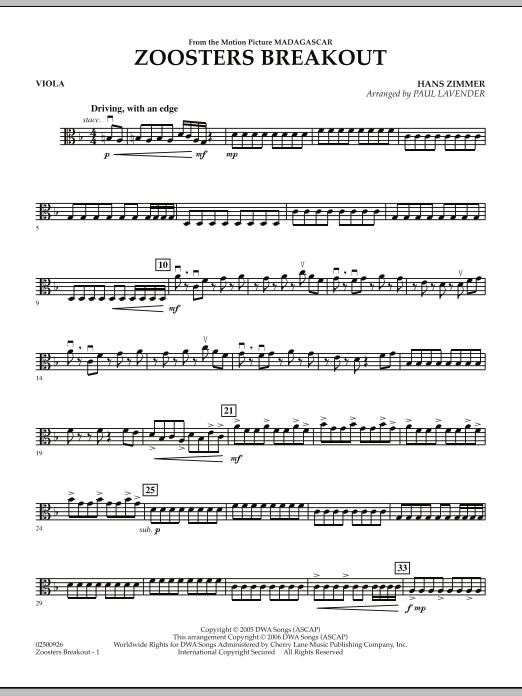 Paul Lavender Zoosters Breakout (from Madagascar) - Viola sheet music notes and chords. Download Printable PDF.