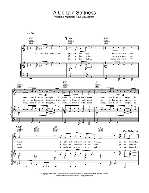 Paul McCartney A Certain Softness sheet music notes and chords. Download Printable PDF.