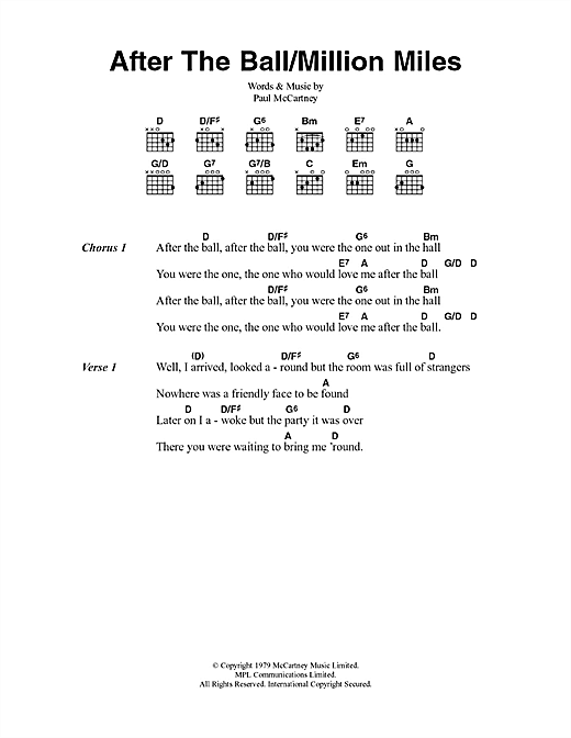 Paul McCartney After The Ball/Million Miles sheet music notes and chords. Download Printable PDF.