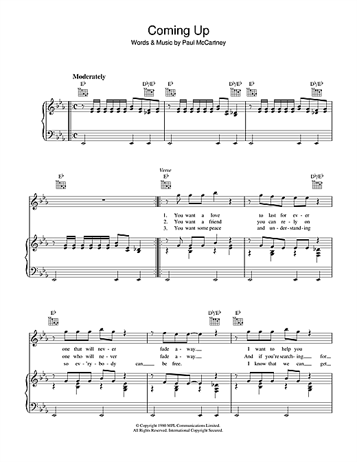 Paul McCartney Coming Up sheet music notes and chords