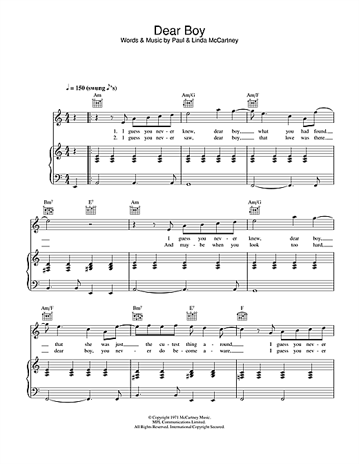 Paul McCartney Dear Boy sheet music notes and chords. Download Printable PDF.