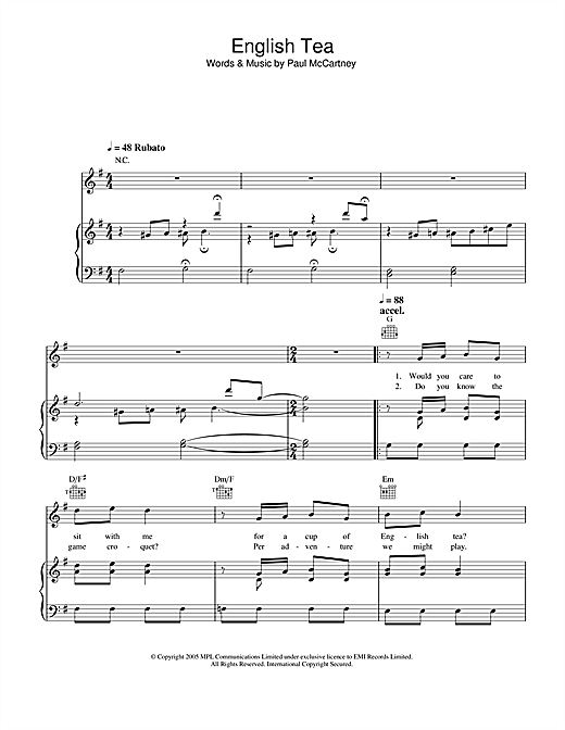 Paul McCartney English Tea sheet music notes and chords. Download Printable PDF.