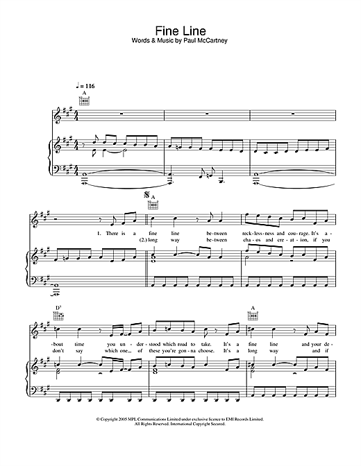 Paul McCartney Fine Line sheet music notes and chords. Download Printable PDF.