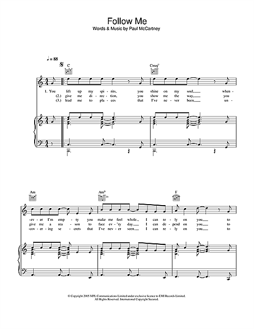 Paul McCartney Follow Me sheet music notes and chords. Download Printable PDF.