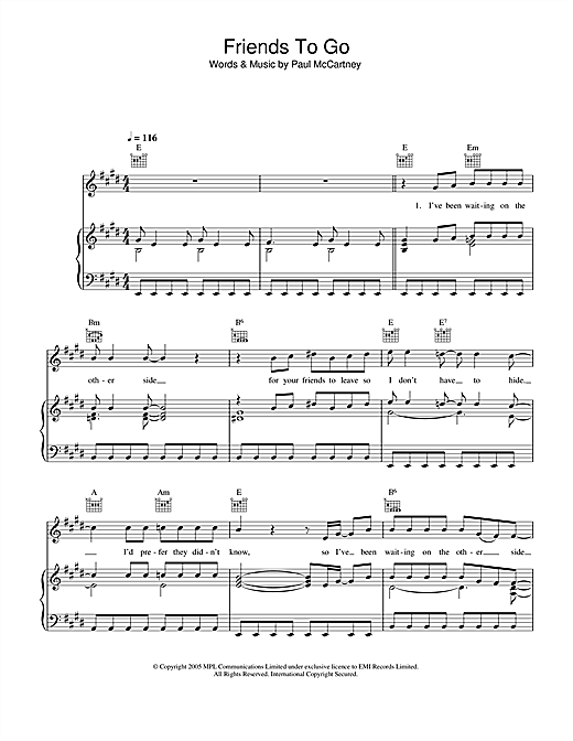 Paul McCartney Friends To Go sheet music notes and chords. Download Printable PDF.