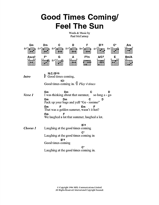 Paul McCartney Good Times Coming/Feel The Sun sheet music notes and chords. Download Printable PDF.