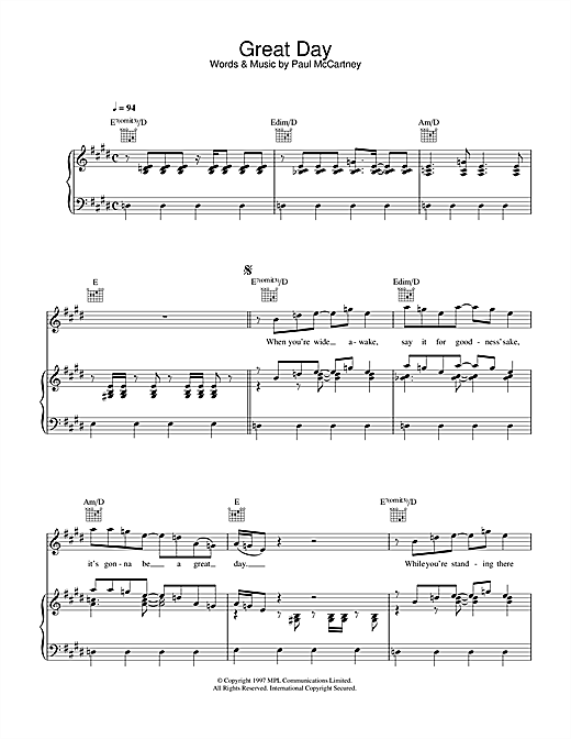 Paul McCartney Great Day sheet music notes and chords. Download Printable PDF.