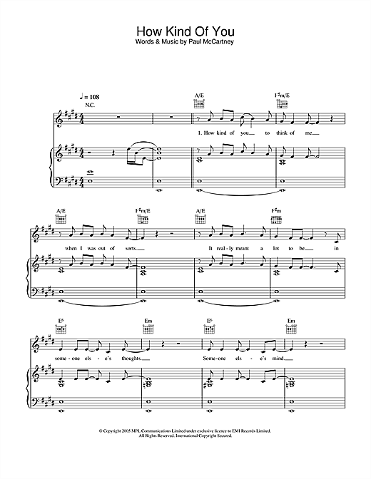 Paul McCartney How Kind Of You sheet music notes and chords. Download Printable PDF.