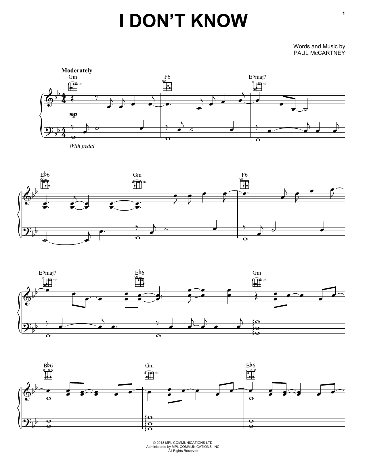 Paul McCartney I Don't Know sheet music notes and chords. Download Printable PDF.