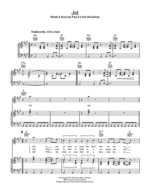 Paul McCartney & Wings Jet sheet music notes and chords. Download Printable PDF.