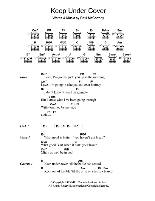 Paul McCartney Keep Under Cover sheet music notes and chords. Download Printable PDF.