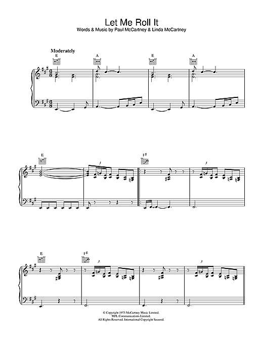 Paul McCartney Let Me Roll It sheet music notes and chords. Download Printable PDF.