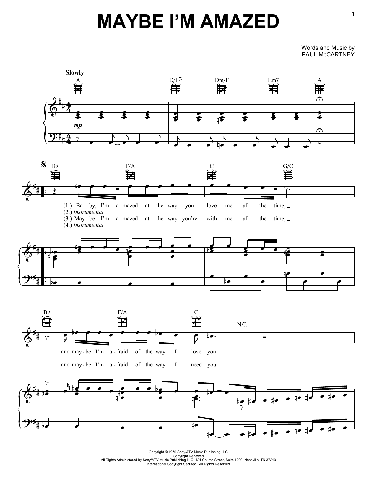 Paul McCartney Maybe I'm Amazed sheet music notes and chords. Download Printable PDF.