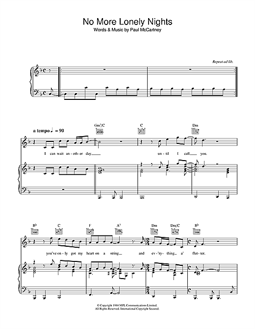 Paul McCartney No More Lonely Nights sheet music notes and chords. Download Printable PDF.