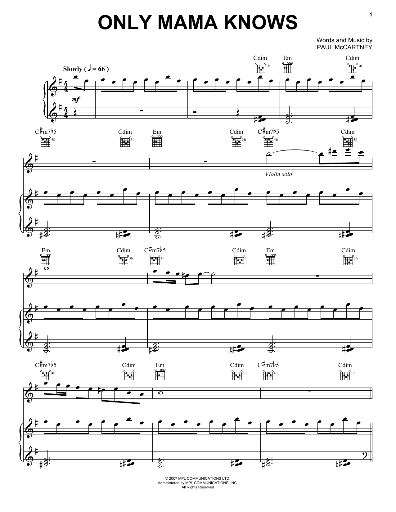 Paul McCartney Only Mama Knows sheet music notes and chords. Download Printable PDF.
