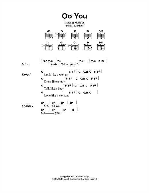 Paul McCartney Oo You sheet music notes and chords