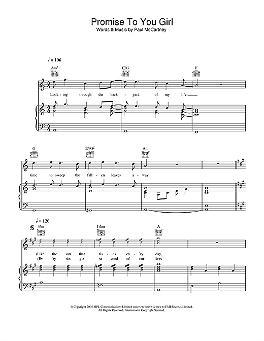 Paul McCartney Promise To You Girl sheet music notes and chords. Download Printable PDF.
