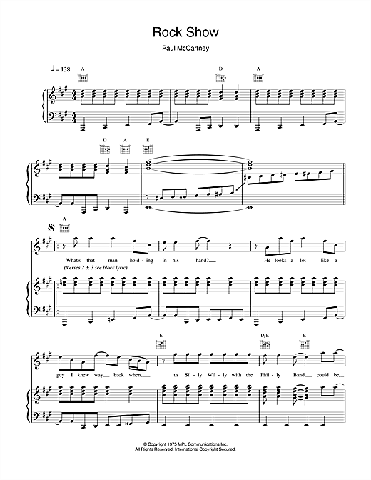 Paul McCartney Rock Show sheet music notes and chords