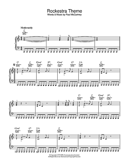 Paul McCartney Rockestra Theme sheet music notes and chords. Download Printable PDF.