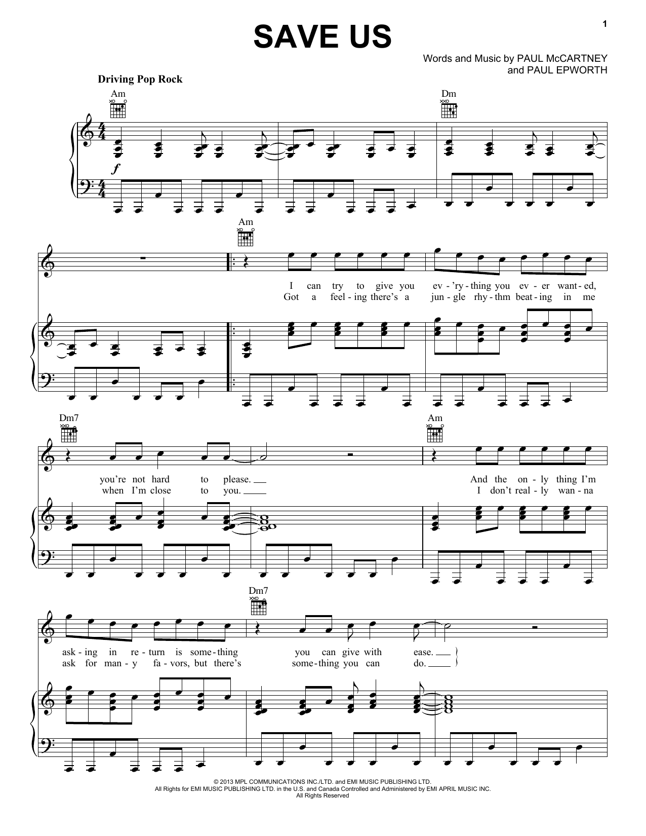 Paul McCartney Save Us sheet music notes and chords. Download Printable PDF.