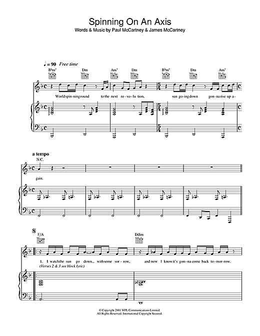 Paul McCartney Spinning On An Axis sheet music notes and chords. Download Printable PDF.