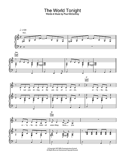 Paul McCartney The World Tonight sheet music notes and chords. Download Printable PDF.