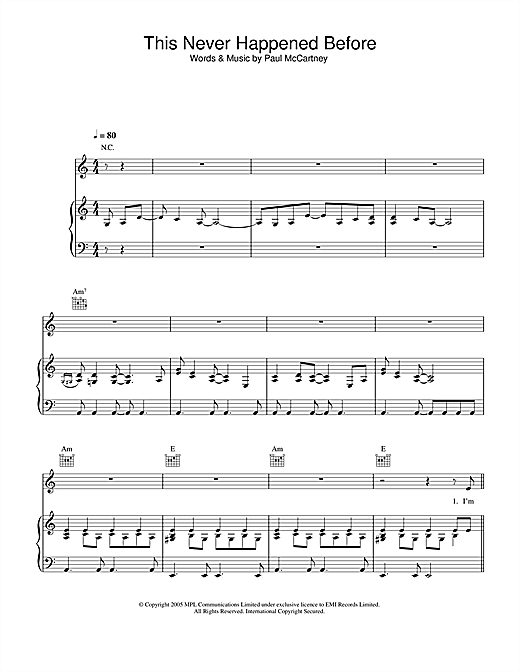 Paul McCartney This Never Happened Before sheet music notes and chords. Download Printable PDF.