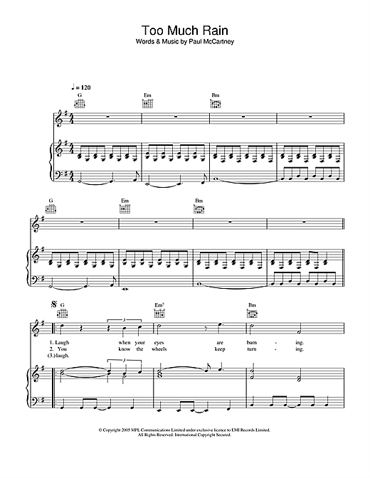 Paul McCartney Too Much Rain sheet music notes and chords. Download Printable PDF.