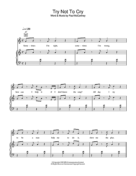 Paul McCartney Try Not To Cry sheet music notes and chords. Download Printable PDF.