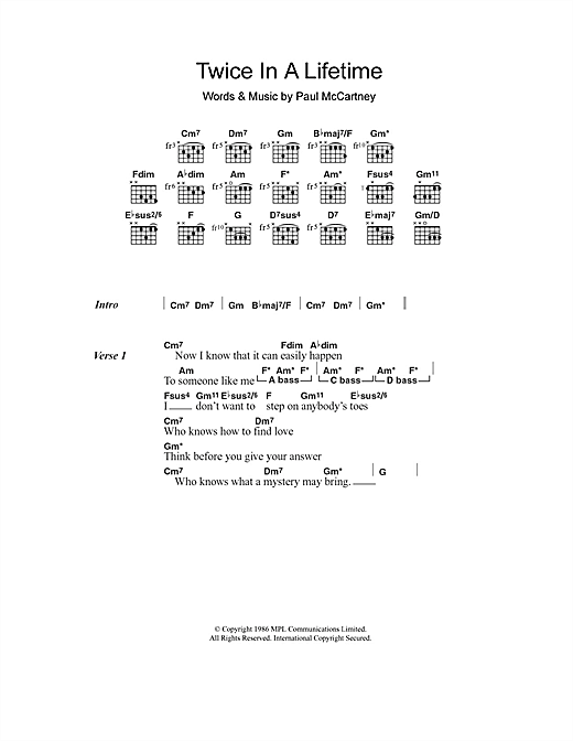 Paul McCartney Twice In A Lifetime sheet music notes and chords