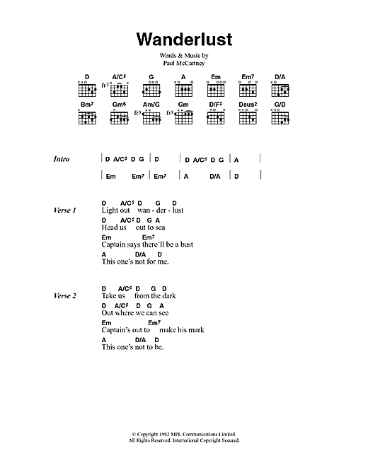 Paul McCartney Wanderlust sheet music notes and chords