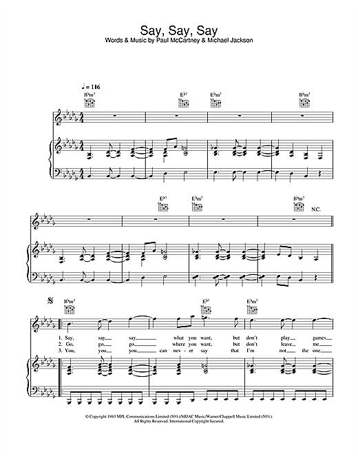 Paul McCartney & Michael Jackson Say Say Say sheet music notes and chords