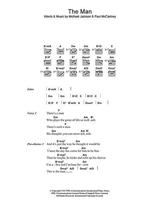 Paul McCartney & Michael Jackson The Man sheet music notes and chords. Download Printable PDF.