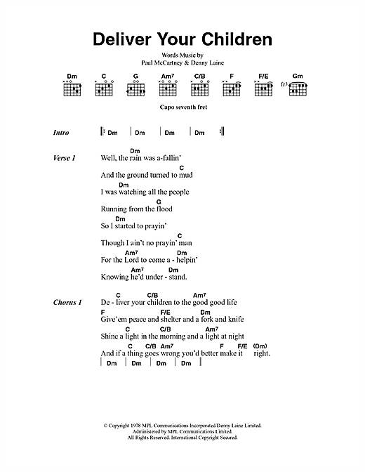 Paul McCartney & Wings Deliver Your Children sheet music notes and chords. Download Printable PDF.