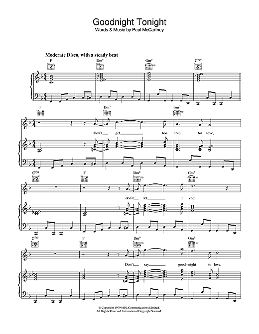 Paul McCartney & Wings Goodnight Tonight sheet music notes and chords