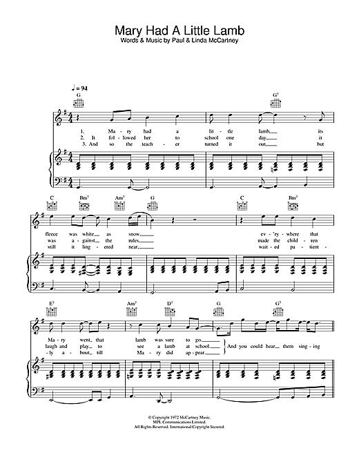 Paul Mccartney Wings Mary Had A Little Lamb Sheet Music Notes Chords Download Printable Guitar Chords Lyrics Sku 100250
