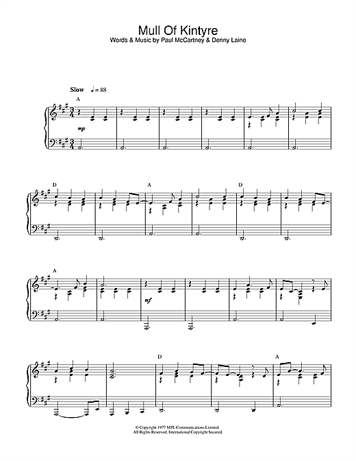 Paul McCartney & Wings Mull Of Kintyre sheet music notes and chords. Download Printable PDF.