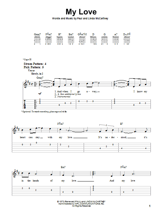 Paul McCartney & Wings My Love sheet music notes and chords. Download Printable PDF.