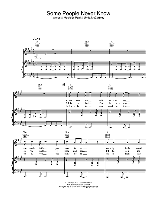 Paul McCartney & Wings Some People Never Know sheet music notes and chords. Download Printable PDF.