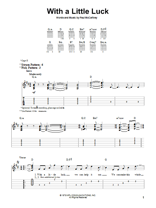 Paul McCartney & Wings With A Little Luck sheet music notes and chords. Download Printable PDF.